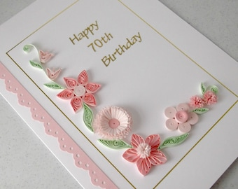 Quilled 70th birthday card, paper quilling