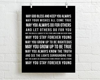 FOREVER YOUNG Poster - Parenthood Forever Young Lyrics