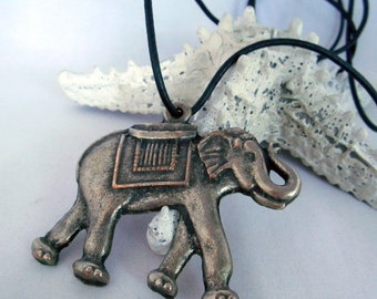 Vintage Elephant Pendant on Black Leather Cord - Early 90s - Retro Jewelry - Silver Metal - Oriental Style - Vintage Jewelry - Long Necklace