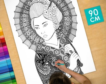 Poster / Poster deco coloring (90cm) Geisha - coloring for adults