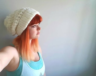 White slouchy crochet soft warm pom pom winter hat