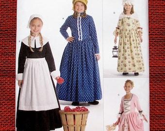 Simplicity Sewing Pattern 3725, Costume Dress, Colonial, Pilgrim, Western Frontier, Bonnet, Mob Cap, Apron, Girls' Sizes 7 8 10 12 14, UNCUT