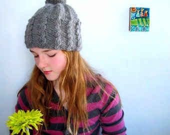 Gray Hat in Mid Gray Heather with Cables and PomPom. Handknit in Alpaca and Wool. Ladies. Girls.