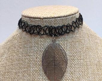 Tattoo black charm leaf necklace jewelry