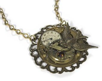 Steampunk Jewelry Necklace Pocket Watch Brass DUAL TIERED Collage Bird Dial Topaz Men Women Boyfriend Girlfriend Burning Man - by edmdesigns