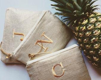Metallic Linen Personalized Bridesmaid Gift Idea for Her Monogram Clutch Set Purse Custom Rustic Beach Pineaple Wedding Pouch Makeup Bag
