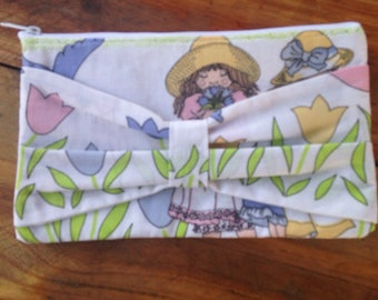 Bow clutch, clutch, casual clutch, vintage clutch, bridesmaid clutch, bow purse, upcycled clutch, zippered pouch, pencil case
