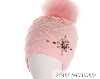 WOOL ACRYLIC HAT, Winter Toddler Hat, Earflap hat girl, Pom Pom Hat, Toddler Knit Hat, Child Hat and Scarf Set, Knit Girl Hat, Winter Hat