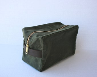 Olive Green Waxed Canvas Dopp Kit by Overlap, Ready to Ship