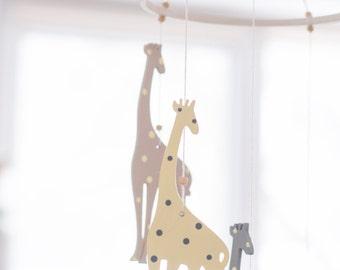 Giraffe Mobile - Neutral Baby Mobile - Yellow Gray Mobile - Safari Mobile - Zoo Mobile - Safari Nursery Decor - Giraffe Nursery -Baby Mobile