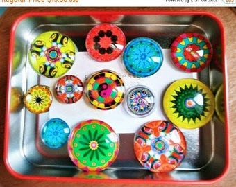 "SALE15 Fridge magnets Mandalas Glass Fridge Magnet Set (12) Twelve magnets mandalas in three sizes S(1/2 ""),M(1""),L(1.2"")"