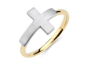 14K Gold Sideways Cross Ring, Sideways Cross Ring, Cross Ring, Sideways Cross, Cross Jewelry, Religious Jewelry, Gold Cross, Gold Ring