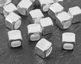 Sterling Silver Square Bead (Rounded Corners) 4mm