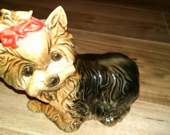 Large vintage Goebel Yorkie Yorkshire Terrier statue. Flawless and adorable. Red bow