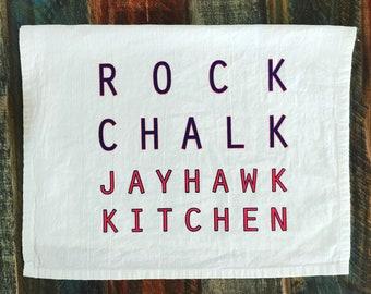 Rock Chalk Jayhawk Kitchen Tea Towel - Kansas KU Jayhawks Lawrence Dish Towel Crimson Blue