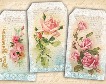 Lace gift tags Printable download on Digital Collage Sheet Shabby roses on tags Paper goods - LACE TAGS