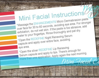 Rodan and Fields Mini Facial Cards Digital Download