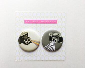 Round Retro Fridge Magnets - Say Cheese