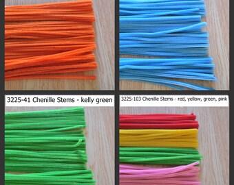 """Chenille Stems - 6mm x 12"""" - assorted colors - 100 pcs - 1 pkg"""