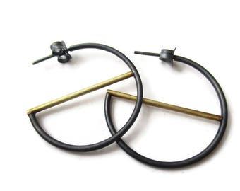 Hoop Earrings - Oxidized Silver Hoop - Brass Earrings - Minimalist Hoop Earrings - Contemporary Earring - Mixed Metal Hoop Earrings - KIMYA