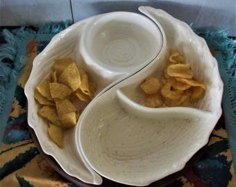 Chip and Dip Lazy Susan 2 pc yin yang style Vintage 1960s Pottery Snack Server Made in Calif USA