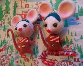 adorable vintage flocked mice ornaments