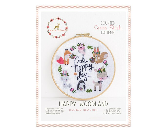 Counted Cross Stitch Pattern - Happy Woodland / cross stitch pattern, fox, embroidery, pattern, gift, deer, hedgehog, rabbit, xstitch