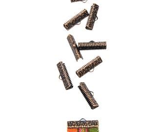 50 pieces  22mm (7/8 inch)  Antique Copper Ribbon Clamp End Crimps - Artisan Series