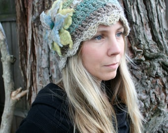 Angora Crochet Hat with Felted Flower- Sun Yellow, Teal Blue, Sand