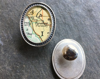 Map Lapel Pin or Brooch Sterling Silver  Vintage Cartography Firenze Florence Italy Atlas Man or Woman Best Man Groom Free Shipping