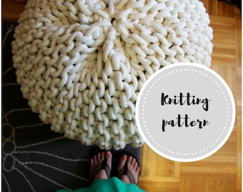 Giant pouf PDF pattern - knit cotton rope pouf with stuffing and dye instructions