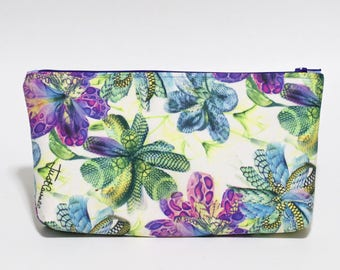 Floral Knitting Project Bag Makeup Bag Waterproof Purple Green Blue Lined Clutch Purse