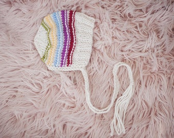 Rainbow baby bonnet for NEWBORNS photography prop