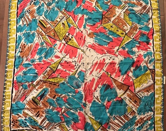Vintage 1950s Large Silk Novelty Print Scarf Countryside and Castles