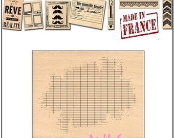 Stamp wood stamp Miscellany Design, made in France, scrapbooking