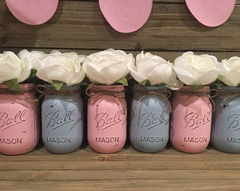 BABY Gender Reveal Mason Jar Set~ Rustic~ Center Pieces~ Home Decor~ Baby Shower~ It's a Boy~ It's a Girl