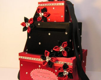 Wedding  Card Box Black and Red Gift Card Box  Money Box Holder-Customize your color