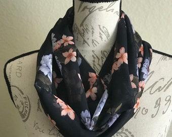 Black Elegant Silk, Spring Floral  Womens Infinity Scarf