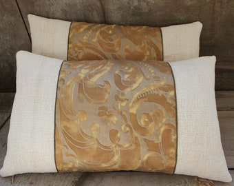 Pair of Fortuny Pillows in Caravaggio Gold Museum, back in Mazzarino