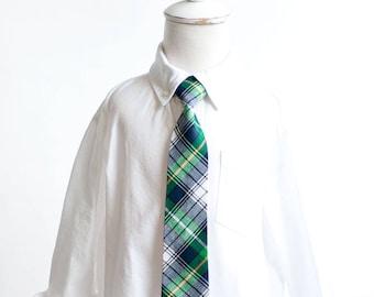 Necktie, Neckties, Boys Tie, Boys Necktie, Baby Tie, Baby Necktie, Baby Neckties, Wedding Ties, Ring Bearer, Ties - Navy And Green Plaid