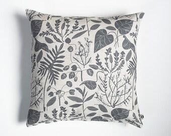 Charcoal House Plants Pillow Case - Linen