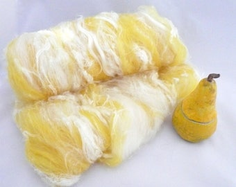 Art Batt Spinning Art Batt Spinning Batt Spinning Fiber Carded Art Batt Spinning Fibre Spinning Wool Spinning Supplies Yellow Batt 2.36 oz