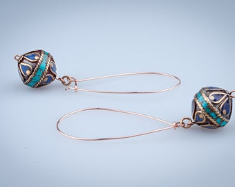 Blue and Turquoise Earrings, Dangle, Extra Long, Gold Filled Wire,Tibetan  Bead