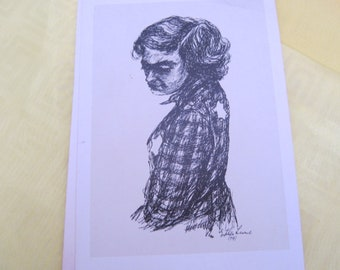 5 Vintage Black and White Post Cards of Anne Frank Judaica Girl With Yellow Star