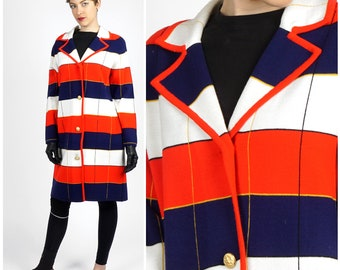 Classic Vintage 60's/70's Long Red White and Blue Knit Striped Plaid Sweater Jacket by I.Magnin | Medium Large