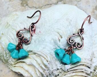 Antique Copper Turquoise Blue Flower Drop Earrings