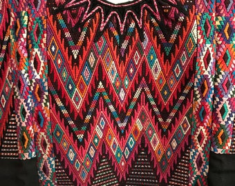Colorful Geometric Design With Feathered Serpents on Black Cotton - Hand-Woven Vintage Guatemalan from Chichicastenango - FREE SHIPPING
