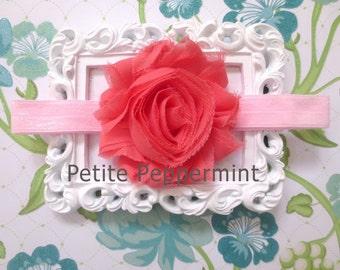 Coral Pink Baby headband, baby girl headband, newborn headband, toddler headband,girl headband,baby flower headband,shabby baby headband