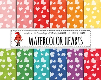 Watercolor hearts digital paper with hand painted watercolor hearts pattern, valentine digital paper, for scrapbooking, cards, etc (1281)