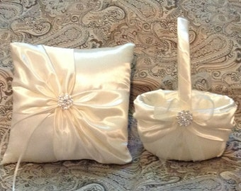 White or  ivory  custom made flower girl basket pillow set